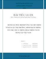 BÀI TIỂU LUẬN Đánh giá hệ thống Ngân hàng Việt Nam