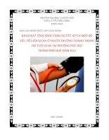 Khảo sát tình hình tăng huyết áp và một số yếu tố liên quan ở người trưởng thành trong độ tuổi 25 60 tại phường phú hội thành phố huế năm 2012