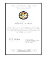 đánh giá hoạt động tín dụng doanh nghiệp của ngân hàng tmcp ngoại thương việt nam – chi nhánh sóc trăng