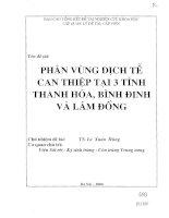 Phân vùng dịch tễ can thiệp tại 3 tỉnh Thanh Hóa, Bình Định và Lâm Đồng