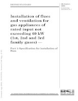 BS 5440 1 1990 installation of flues and ventilation for gas appliances of flues and ventilation