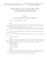 TỔNG hợp đề  đáp án THI CÔNG CHỨC các CHUYÊN NGÀNH năm 2014