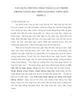 VẬN DỤNG PHƯƠNG PHÁP THẢO LUẬN NHÓM TRONG GIẢNG DẠY MÔN GIÁO DỤC CÔNG DÂN KHỐI 11
