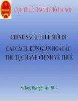 Bài giảng chính sách thuế mới ( 9  2014)