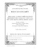 skkn khai thác và phát triển bài toán nhằm phát huy năng lực của học sinh trong trương trình toán lớp 7