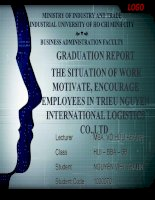 GRADUATION REPORT  THE SITUATION OF WORK MOTIVATE, ENCOURAGE EMPLOYEES IN TRIEU NGUYEN INTERNATIONAL LOGISTICS CO.,LTD