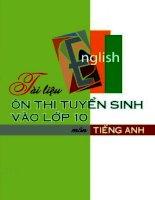 Tài liệu ôn thi tuyển sinh vào lớp 10 môn Tiếng Anh