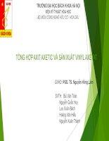 Tiểu luận tổng hợp axit axetic và sản xuất vinyl axetat