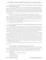 Câu hỏi và đáp án kiểm tra môn pháp luật hành chính