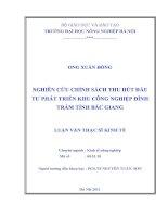 nghiên cứu chính sách thu hút đầu tư phát triển khu công nghiệp đình trám, tỉnh bắc giang