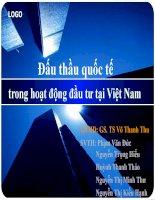 Tiểu luận môn đầu tư quốc tế Đấu thầu quốc tế trong hoạt động đầu tư tại Việt Nam