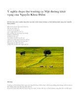 Ý nghĩa đoạn thơ trường ca Mặt đường khát vọng của Nguyễn Khoa Điềm - văn mẫu