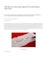Viết thư cho bạn nước ngoài kể về quê hương Việt Nam - văn mẫu