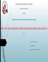 Môn phân tích huỳnh quang và hóa phát quang: PHÂN TÍCH HÀM LƯỢNG SELEN TRONG MẪU SINH HỌC BẰNG HUỲNH QUANG TIA X