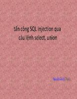 Tấn công sql injection sử dụng câu lệnh select union