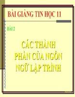 bài giảng tin học 11 bài 2 các phần của ngôn ngữ lập trình