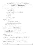 các nội dung ôn tập toán lớp 9