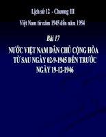 bài giảng lịch sử 12 bài 17 nước việt nam dân chủ cộng hòa từ sau ngày 2-9-1945 đến ngày 19-12-1946