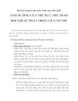 môn Giáo dục thể chất ẢNH HƯỞNG CỦA THỂ DỤC THỂ THAO ĐỐI VỚI SỰ PHÁT TRIỂN CỦA CƠ THỂ