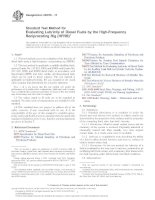 ASTM D6079  11 Standard Test Method for Evaluating Lubricity of Diesel Fuels by the HighFrequency Reciprocating Rig (HFRR)