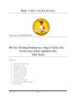 Khủng hoảng nợ công ở Châu Âu và bài học kinh nghiệm cho Việt Nam