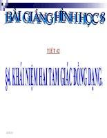 bài giảng hình học 8 chương 3 bài 4 khái niệm hai tam giác đồng dạng