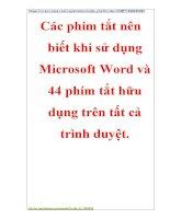 Chuyên đề chuyên đề CNTT: Các phím tắt nên biết khi sử dụng microsoft word và 44 phím tắt hữu dụng trên tất cả trình duyệt