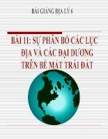 bài giảng địa lý 6 bài 11 thực hành sự phân bố các lục địa và đại dương trên bề mặt trái đất