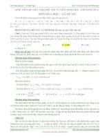 Đáp án chi tiết đề thi Đại học khối A môn Hóa học năm 2011