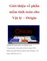 Giới thiệu về phần mềm tính toán cho vật lý – origin