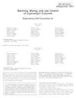 batching, mixing, and job control of lightweight concrete