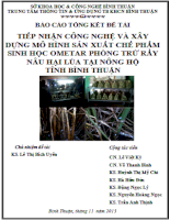Báo cáo tổng kết đề tài cấp tỉnh ứng dụng nấm xanh Metarhizium anisopliae trừ rầy nâu trên lúa tỉnh Bình Thuận