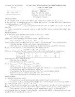 Đề và đáp án thi chọn HSG 12 - Hà Nội V2 năm học 2008-2009