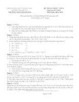 Đề thi olympic hóa học 8 THCS Thanh Mai 2013 2014