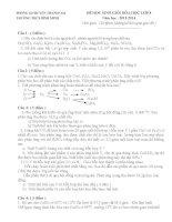 Đề thi học sinh giỏi hóa học 8 THCS Bình Minh (2013_2014)