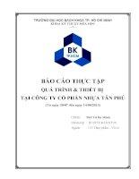 Báo cáo thực tập Quá trình và thiết bị tại Công ty Cổ phần nhựa Tân Phú (bản full)