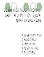 việc thực  thi chính sách tài chính tiền tệ của nhnn vn 2007 - 2009