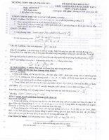 Đề và đáp án thi thử Toán Lần 1-2012 THPT Thuận Thành 1