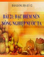 bài giảng địa lý 12 bài 21 đặc điểm nền nông nghiệp nước ta