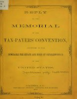 reply to the memorial of the tax-payers' convention, addressed to the honorable the senate and house of represnetatives of the united states (1874)