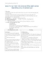Giáo án sinh học 10 bài 27 các yếu tố ảnh hưởng đến sinh trưởng của VSV