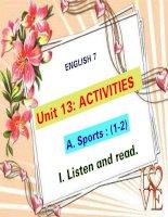bài giảng tiếng anh 7 unit 13 activities