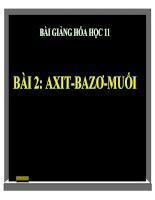 bài giảng hóa học 11 bài 2 axit, bazơ và muối