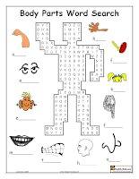 Wordsearch trò chơi tìm chữ từ vựng về bộ phận cơ thể