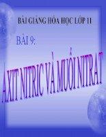 bài giảng hóa học 11 bài 9 axit nitric và muối nitrat