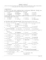 đề trắc nghiệm anh văn lớp 12