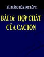 bài giảng hóa học 11 bài 16 hợp chất của cacbon