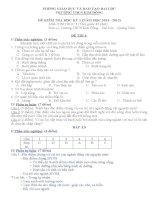 bộ đề kiểm tra chất lượng môn sinh học lớp 7 tham khảo