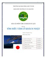 Báo cáo Tâm lý khách du lịch: Tìm hiểu tâm lý khách du lịch Nhật Bản