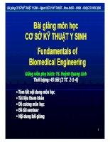 Bài giảng môn cơ sở Kĩ thuật Y Sinh Đại học Bách khoa Hồ Chí Minh